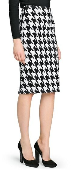 Black and White Houndstooth Pencil Skirt by Mango. Buy for $29 from Mango