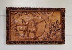 Elk Wood Carving  Rustic Cabin Decor Elk  by TheWoodGrainGallery