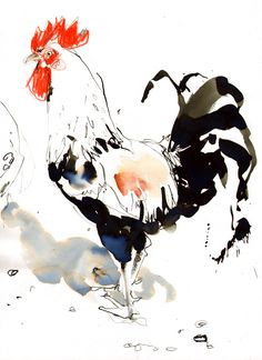 "Lucy Newton; Ink, Mixed Media ""cockerel"". So like the Chinese story of the artist who whipped out a rooster painting in a minute, and then he showed his clients the stacks and stacks of practice paintings."