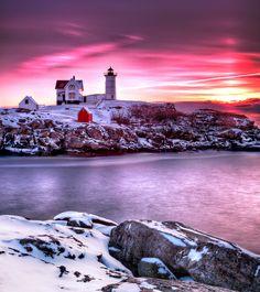 Sunrise at Nubble Light, US by Jeffrey Bazinet