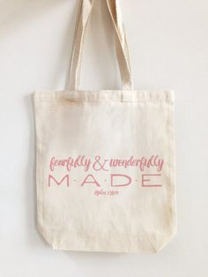 Wonderfully Made Like Stars Tote Bag - Library Bag - Childs Book Bag - Kids Book Bag - Bible Verse Bag - Canvas Tote - Washable Beach Bag