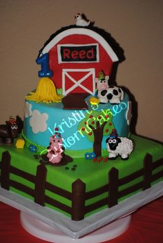 Barnyard Bash 1st Birthday Cake I made for my little boy. Farm Animals for sale in my etsy shop. www.kristinscustomcakes.etsy.com
