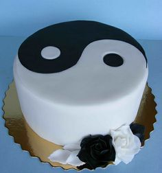 Yin and Yang wedding anniversary cake