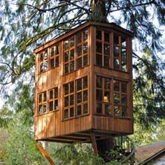 """curiously elaborate tree-house --- can this still be described as """"living off the grid"""" ? I always wanted a tree-house in my backyard growing up however these modern versions look kick-ass! Outdoor Spaces, Outdoor Living, Water Features In The Garden, In The Tree, 10 Tree, Home Design, Design Ideas, Design Inspiration, Creative Inspiration"""