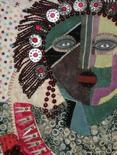 Contemporary art quilt. fabric collage A rosy red by Pamelart