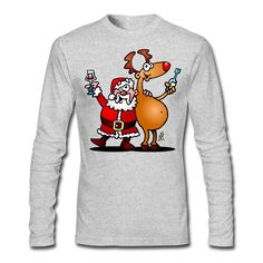 #Christmas #Longsleeve #Santa #Reindeer #Spreadshirt Santa Claus and his reindeer raise their glasses of wine to wish everyone a Merry Christmas. #SOLD