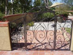 ornamental iron gate with panels
