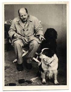 Citation: Jackson Pollock with his dogs, ca. 1955 / unidentified photographer. Jackson Pollock and Lee Krasner papers, Archives of American Art, Smithsonian Institution.