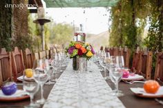 Table set for dinner at wedding in Mexico. Wedding design by Bliss Events Los Cabos.