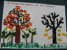 The tree of peace and the tree of war! Art For Kids, Crafts For Kids, 28th October, Kindergarten, Peace, War, Projects, Blog, National Days