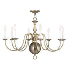 Livex Lighting Williamsburgh Antique Brass Chandelier 5007-01