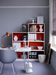 Bookshelves with red interior
