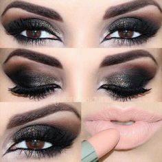 Sultry, ideal Christmas party makeup