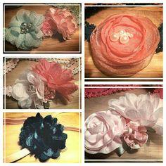 Elastische haarbanden, met 3bloemen voor 5,50. Andere haarbanden voor 5,- te bestellen via suzancreatief@hotmail.nl