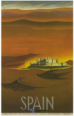 El maravilloso castillo de Coca en la provincia de Segovia en un cartel de turismo del año 1950 a poster of the Castle of Coca in Spain