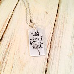 Dandelion Hand Stamped Memorial Necklace by FarrarCreations