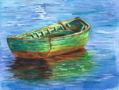 This brightly colored watercolor painting of a quaint empty wooden rowboat with only one oar would be a lovely focal point on the wall of any room. Man Overboard may be a conversation piece on your wall. It brings back memories of summer camp and warm lazy days at the lake.