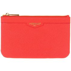Pomikaki Clutch bags (120 PEN) ❤ liked on Polyvore featuring bags, handbags, clutches, genuine leather purse, genuine leather handbags, pom pom purse, red handbags and pom pom handbag