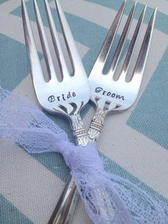 Bride  Groom Hand Stamped Vintage Forks!
