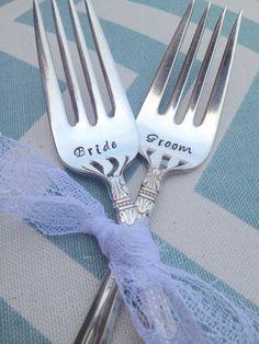 Bride  Groom Hand Stamped Vintage Forks!