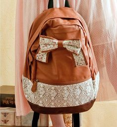 adc6f2862ae08 Fashion Brown Lace Backpack with Red Floral Bow from styleonline