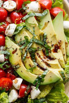 Balsamic Chicken Avocado Caprese Salad | http://cafedelites.com
