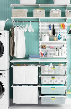 Seven Genius Ways to Bring Storage into a Small Laundry Room! Pack a lot of style and storage into a small space with these inspiring laundry room storage ideas. Laundry Room Remodel, Laundry Closet, Laundry Room Organization, Laundry Storage, Small Laundry, Laundry Room Design, Laundry In Bathroom, Ikea Laundry Room, Laundry Area