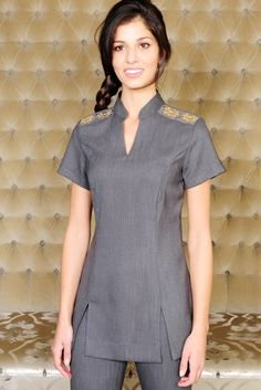Holly - Grey beauty tunic with v neck opening and flattering panels. Embeelished shoulders with sequin detailing. Dental Uniforms, Healthcare Uniforms, Work Uniforms, Salon Uniform, Spa Uniform, Scrubs Uniform, Clearance Scrubs, Beauty Tunics, Professional Outfits