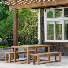 Horizon Teak Extension Dining Table - Westminster Teak Outdoor Furniture Teak Dining Table, Outdoor Dining, Outdoor Seating, Teak Garden Furniture, Wooden Furniture, Furniture Ideas, Furniture Design, Westminster Teak, Bench Set
