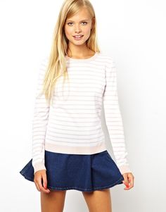 ASOS | ASOS Striped Jumper With Heart Elbow Patch at ASOS