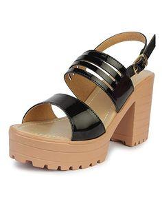Do Bhai Patent-Hatoda Block Heeled Sandal for Women Black) Cheap Sandals, Fashion Sandals, Block Heels, Shoes, Black, Women, Zapatos, Shoes Outlet, Black People