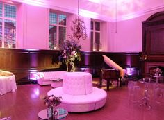 Fulham Palace London - Wall uplighters, gobo light projections and chill-out tables by www.stressfreehire.com #venuetransformers