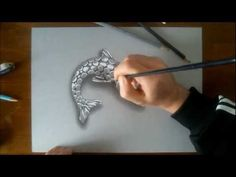 3D illusion drawing FISH CHROME ORNAMENT - YouTube - Marcello Barenghi