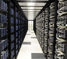 Set of server racks in the Iliad datacenter near Paris, France. The servers are Dell VS11-VX8.