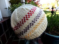 A fun and easy knit hat. The color bands created with slip stitches add interest to a fairly basic beanie-style hat.