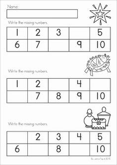 Christmas Nativity Preschool Math and Literacy No Prep worksheets and activities. A page from the unit: write the missing numbers