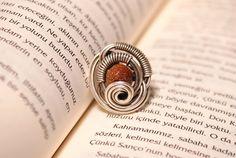 Goldstone ring wire wrap wire wrapped jewelry by BeyhanAkman, $23.00