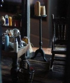Make tiny drippy candles like the one's seen here, in Witch Hilda's Cottage.    More free miniature dollhouse projects at My Small Obsession, click...