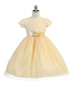 Another great find on #zulily! Gold Carnation Tulle A-Line Dress - Toddler & Girls #zulilyfinds