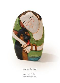 Carlos & Toki are Friends! Custom stone by www.irenefenollar.com