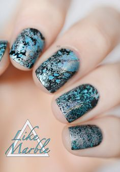 Marble Nails (base Fool's Gold Picture Polish + watermarble spotted Merlin & Camelot A.England)