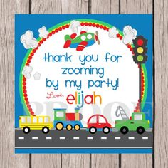 Personalized On the Move Favor Tags - DIY Printable Tags for Birthdays and More - Cars. Trucks, AIrplane, Train and School Bus on Etsy, $6.00