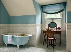 sky blue + warm wood + white #clawfoot #bathroom