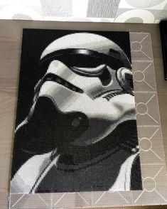 Stormtrooper - Star Wars perler bead art by artbyfredd Pony Bead Patterns, Pearler Bead Patterns, Perler Patterns, Perler Beads, Fuse Beads, Perle Hama Star Wars, Geometric Shapes Art, Art Perle, Star Wars Crafts