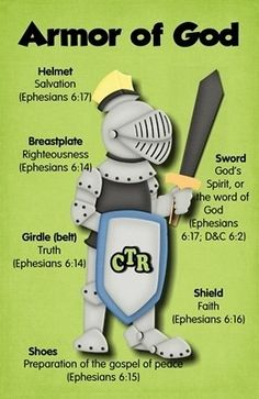 the armor of God is NOT an accessory (like a bracelet or necklace) for today's outfit--it's something that should be worn daily for protection . . .