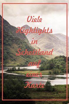 Auf dieser Karte findest du alle Top Highlights in Schottland! Glasgow, Highlights, Beautiful Soup, Roadtrip, Scotland Travel, Vacation Destinations, Van Life, Whisky, Adventure