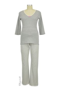 Boob Designs 3/4 Sleeve Nursing PJ Set in Grey/ White Stripes. Please use coupon code NewProducts to receive 15% off these items. To receive the discount, please place your order by midnight Monday, September 7, 2015