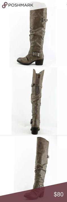 Carlos Santana over the knee boots in grey Amazing grey boots over the knee by Carlos Santana. Faux leather. Sz 8. Excellent gently worn condition. Carlos Santana Shoes Over the Knee Boots