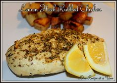 Lemon Herb Rubbed Chicken -this is even better if you turn it into a marinade...combine all ingredients into a plastic bag including them juice of the lemon.  And for the garlic, crush the garlic into a paste.  Poke chicken and the put it in the plastic bag.  Marinade for a couple hours and them grill.   Another one to try