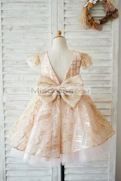 23edb7ced Princess Cap Sleeves V Back Pink Tulle Champagne Sequin Wedding Flower Girl  Dress